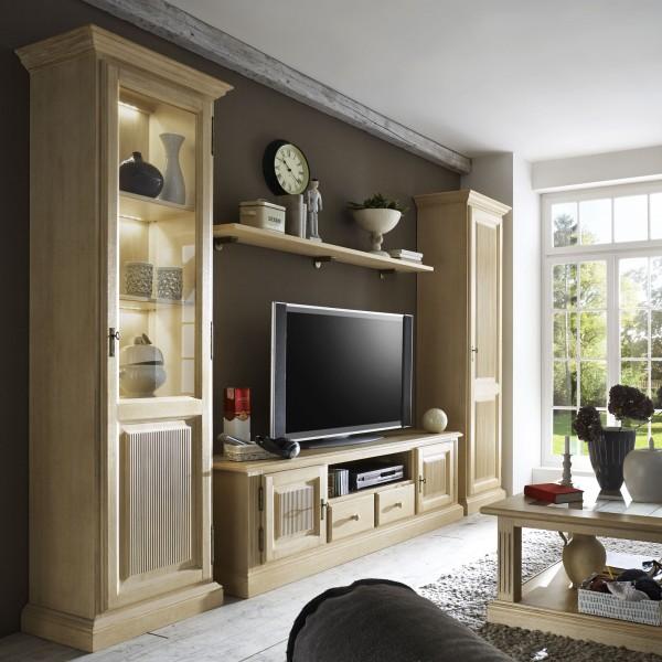 Wohnwand Wohnzimmer-Schränke-Set Casapino 4-teilig 2 Vitrinen TV-Schrank 1 Wandbord Pinie massiv