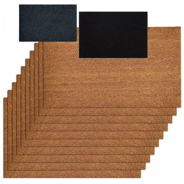 Kokosmatte 10er Set Türvorleger Schmutzfangmatte Fußmatte Fußabtreter einfarbig für Haustür 3 Farben