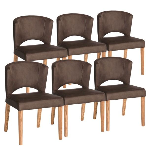 Esszimmer-Stuhl Set Rimini 6 Stück festgepolstert, Wildlederoptik braun