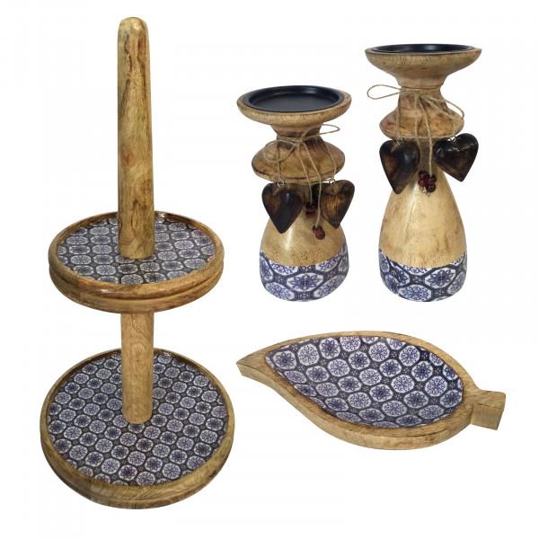 Etagere Set mit 1 Knabber Teller Blatt und 2 Kerzenständern Mangoholz mit Keramikdekor