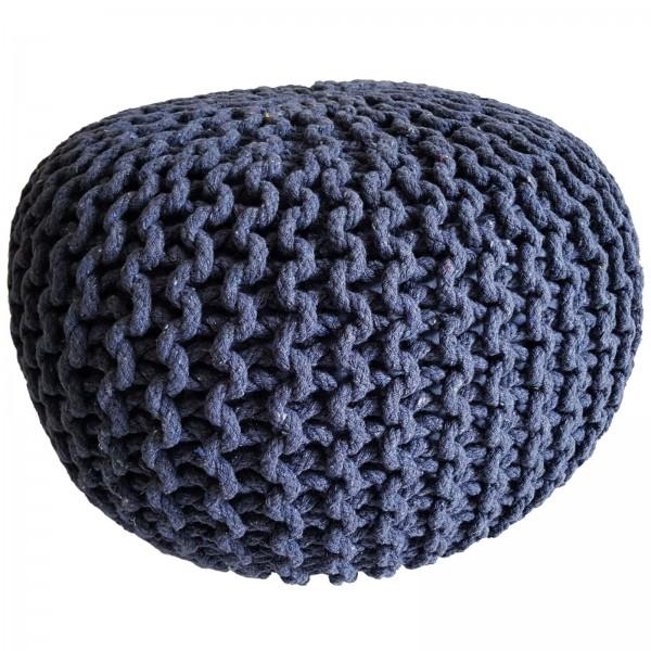 Strickhocker Pouf Ø 45 cm 2. Wahl Sitzpouf Grobstrick Pouf Strick Bodenkissen Sonderfarbe jeansblau