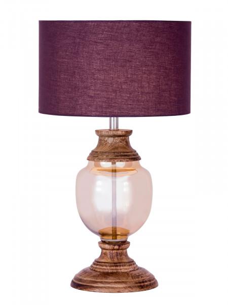 Nachttischlampe Tischlampe ø 30 x H 52 cm Tischleuchte Dekolampe Glas mit Holzsockel