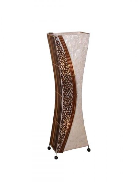 Stehlampe Stimmungleuchte Wayan Höhe 100/150 cm eckige taillierte Form mit Bambusringen