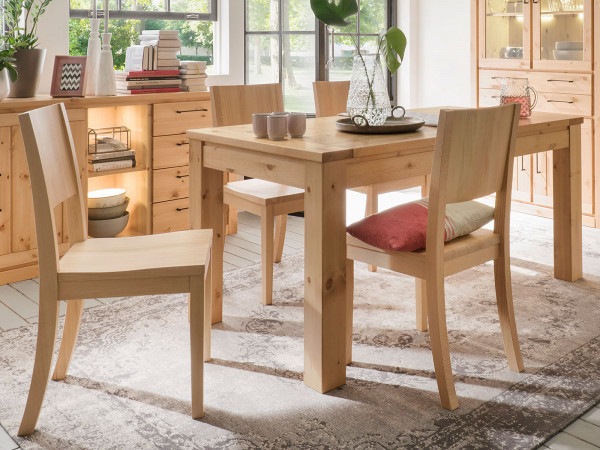Essgruppe Sitzgruppe Verona Tisch mit Auszug 160/200 x 90/100 cm u. 6 Stühle Pinie Nordica lackiert