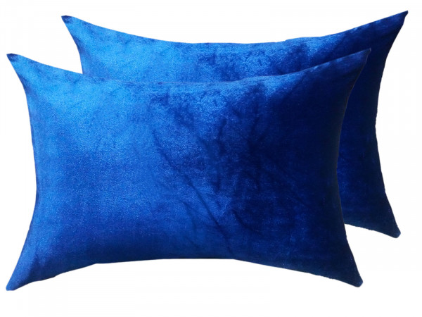 Zierkissen Set 2 Stück Deko Kissen Sofa Kissen Velour Samt 50 x 35 cm glatte Oberfläche royalblau