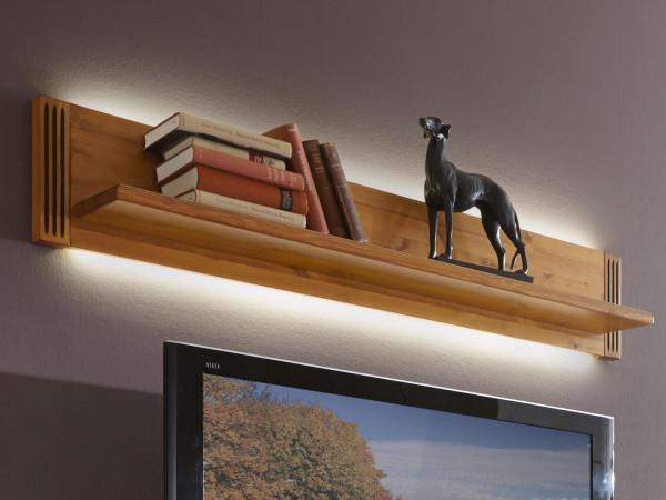 Wandbord Bücher-Regal L-Bord Florenz B 140 cm mit Dekorleisten Pinie Nordica massiv sierra