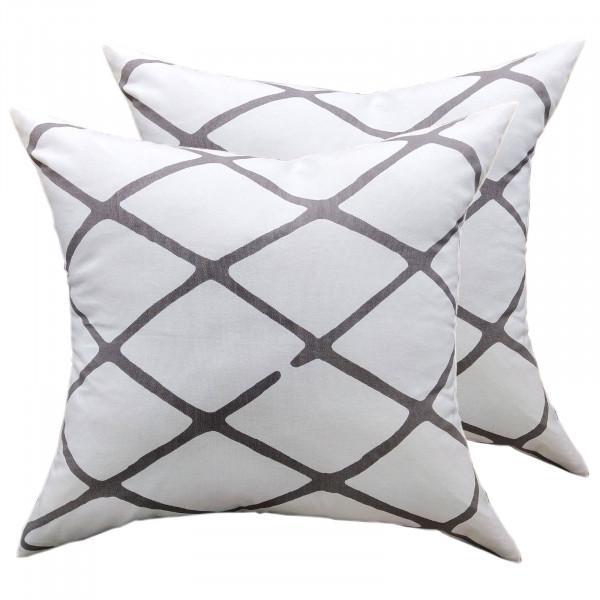 Zierkissen Set 2 Stück Deko Kissen Sofa Kissen Baumwolle 45 x 45 cm Karo-Design weiß grau