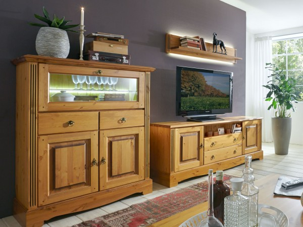 Wohnwand Set Florenz 1 Barschrank 1 Tv Lowboard 1 Wandbord Pinie Nordica Massiv Sierra