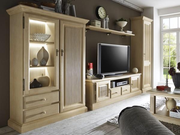 Wohnwand Wohnzimmer Schränke Casapino 4-teilig 1 Vitrine 1 TV-Schrank 1 Highboard 1 Wandboard