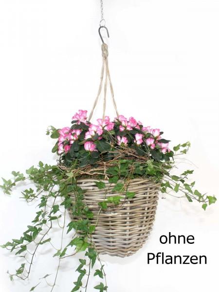 Pflanzampel Blumenampel für Übertöpfe Ø 23 cm mit Kunststoffinlett aus Rattan kubu grey