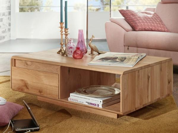 Couchtisch Massivholz mit Schublade B 110 x 70 cm Wohnzimmer-Tisch Bergeiche Wildeiche massiv
