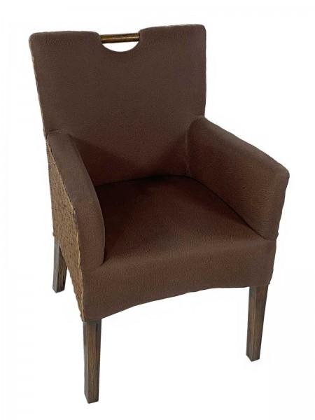 Esszimmer Stuhl Rattan Armlehner Sessel Bilbao vollgepolstert Polster prairie brown