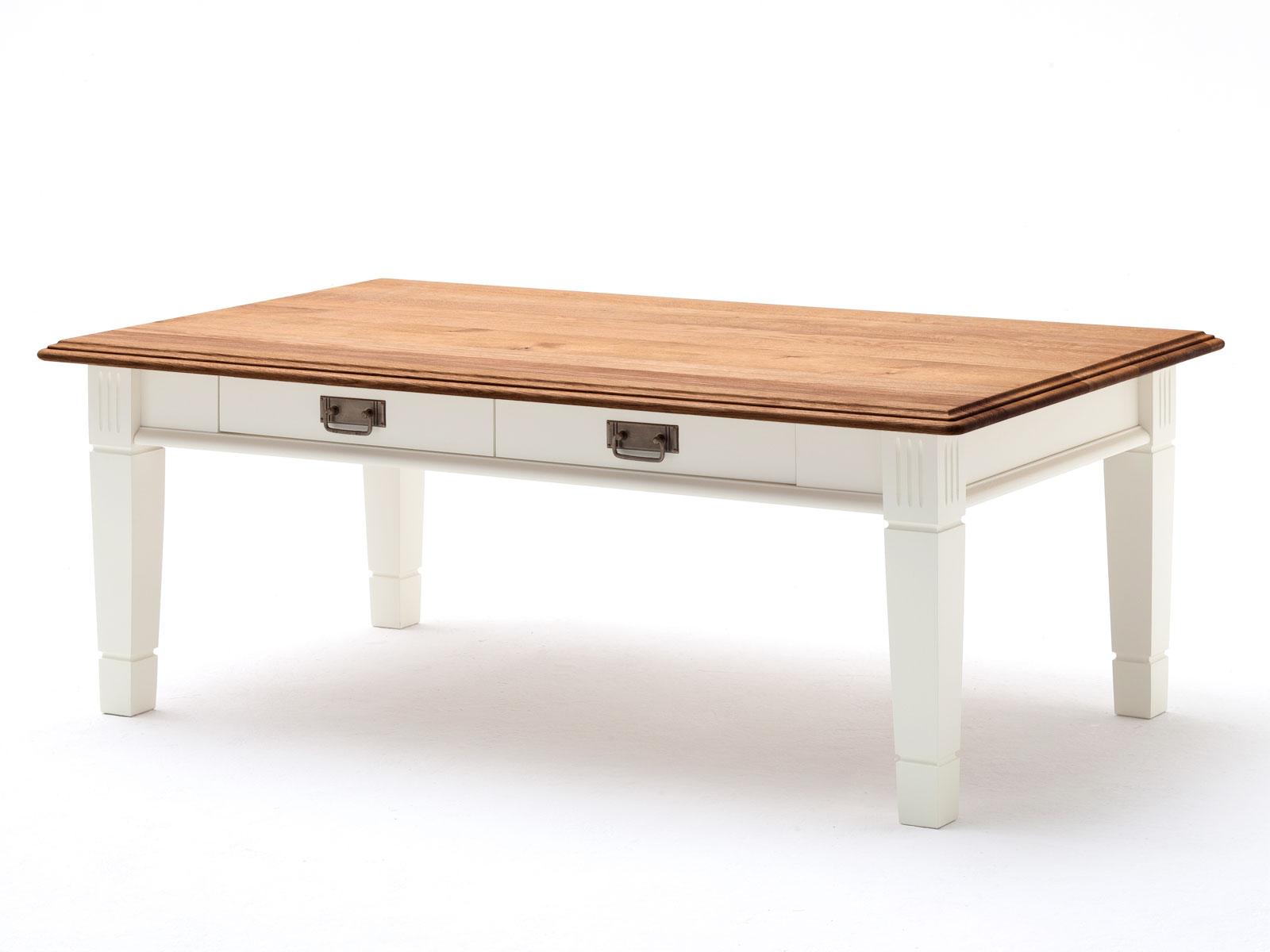 Couchtisch Wohnzimmer Tisch Novara 130x75 Cm Mit Schublade Pinie Nordica Weiss Wildeiche Natur Massiv