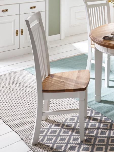 Esszimmer Stuhl Novara/Olbia mit Holzsitzfläche Pinie Nordica massiv reinweiß Wildeiche natur geölt