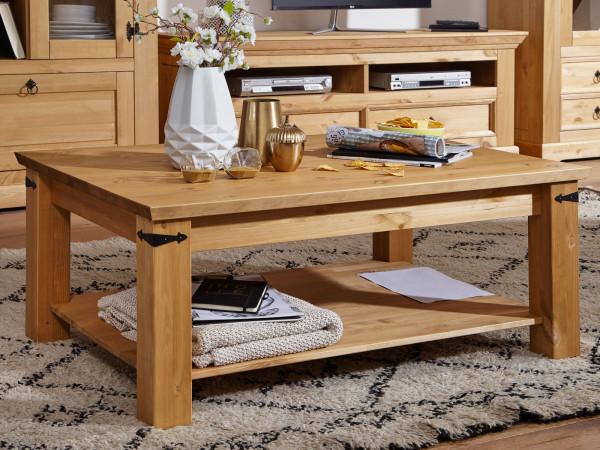 Couchtisch Wohnzimmer-Tisch Torino 110x75 cm breit Pinie Nordica eichefarbig gebeizt geölt