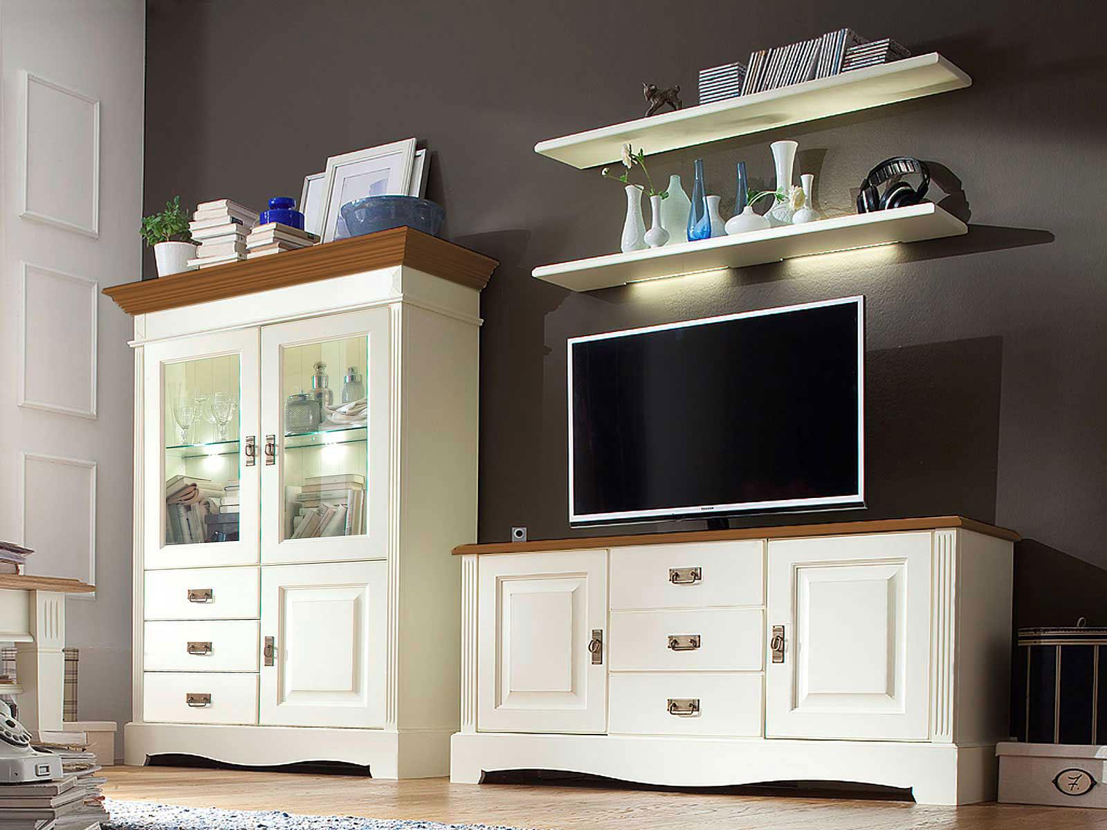 Fernsehschrank Set Wohnzimmer Padua 10-teilig B 2910 x H 10 x T 105 cm Pinie  Nordica massiv