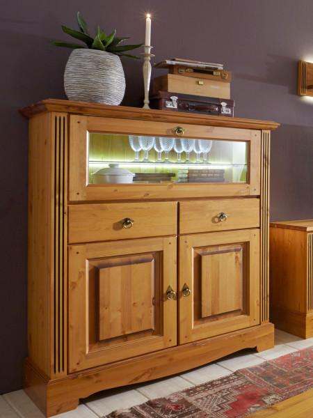 Barschrank Highboard Florenz 1 Glas-Klapptür 2 Schubladen 2 Türen Pinie Nordica massiv sierra