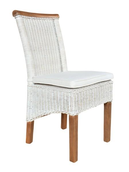 Esszimmer Stuhl Ratten Stuhl Perth Weiß Sitzkissen Leinen Weiß