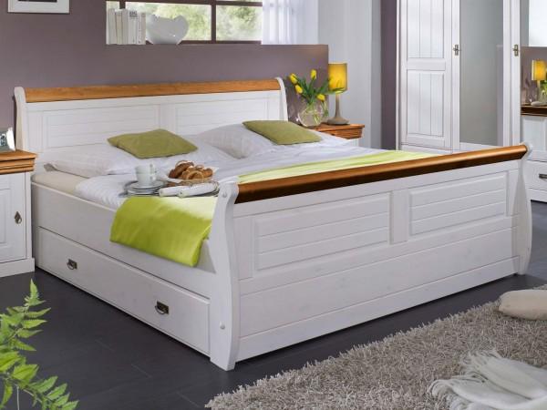 Bett Doppelbett Ehebett Napoli 100/140/180 x 200 cm Pinie Nordica weiss gewachst