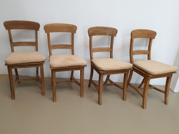 Esszimmer Stühle mit Kissen SET Tanja 4 Stück mit Holzsitzfläche Teakholz gebürstet