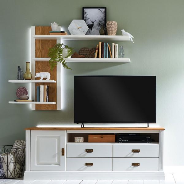 Fernsehschrank Set TV Lowboard + Wandregal Novara Pinie Nordica weiß Wildeiche natur massiv