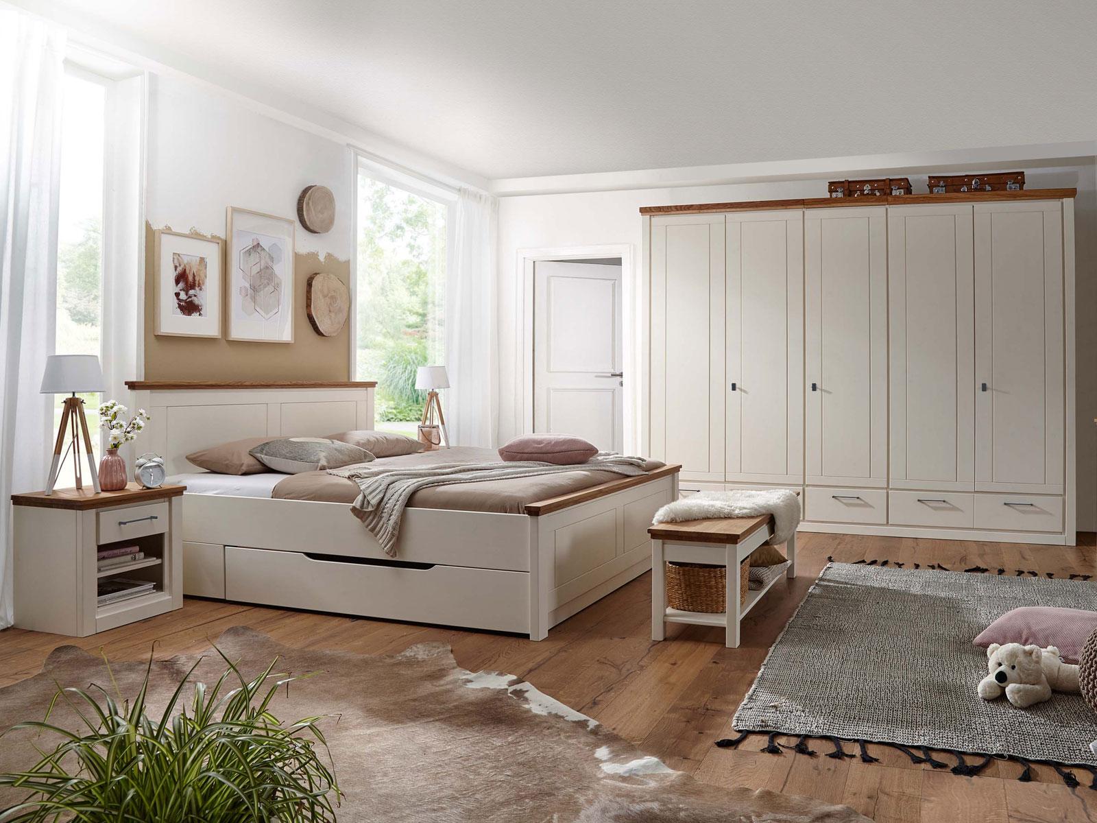 Schlafzimmer komplett Provence Bett Kleiderschrank Nachtschrank Pinie  Nordica creme und Eiche massiv