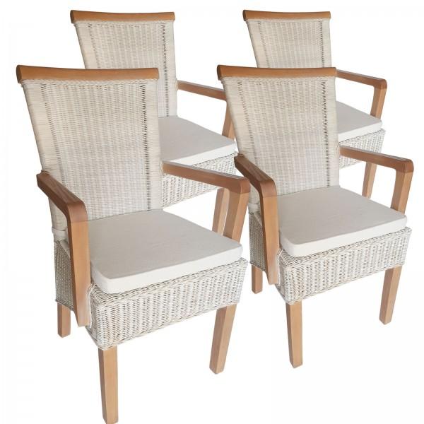 Esszimmer Stühle Set mit Armlehnen 4 Stück Rattanstühle Stuhl weiß Perth