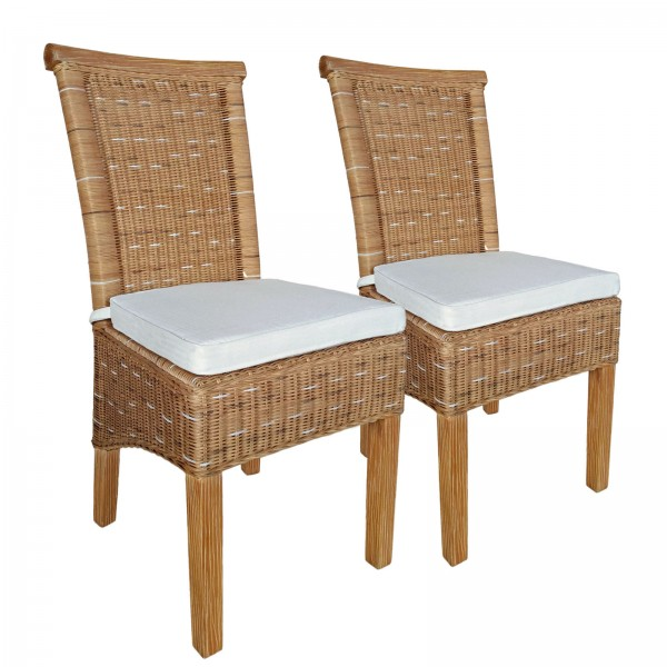 Rattanstühle 2er Set Esszimmer Stühle Perth Wintergarten 2 Stück braun Sitzkissen Leinen weiß