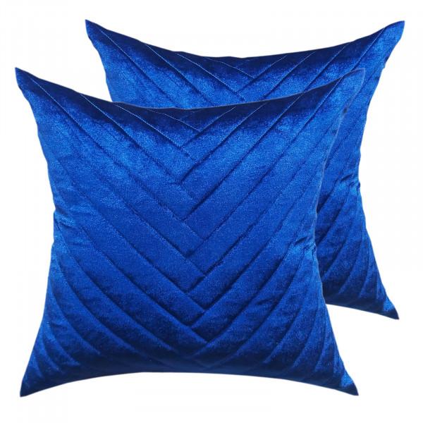 Deko Kissen Zierkissen Set 2 Stück Sofa Kissen Velour Samt 45 x 45 cm Streifendesgin royalblau