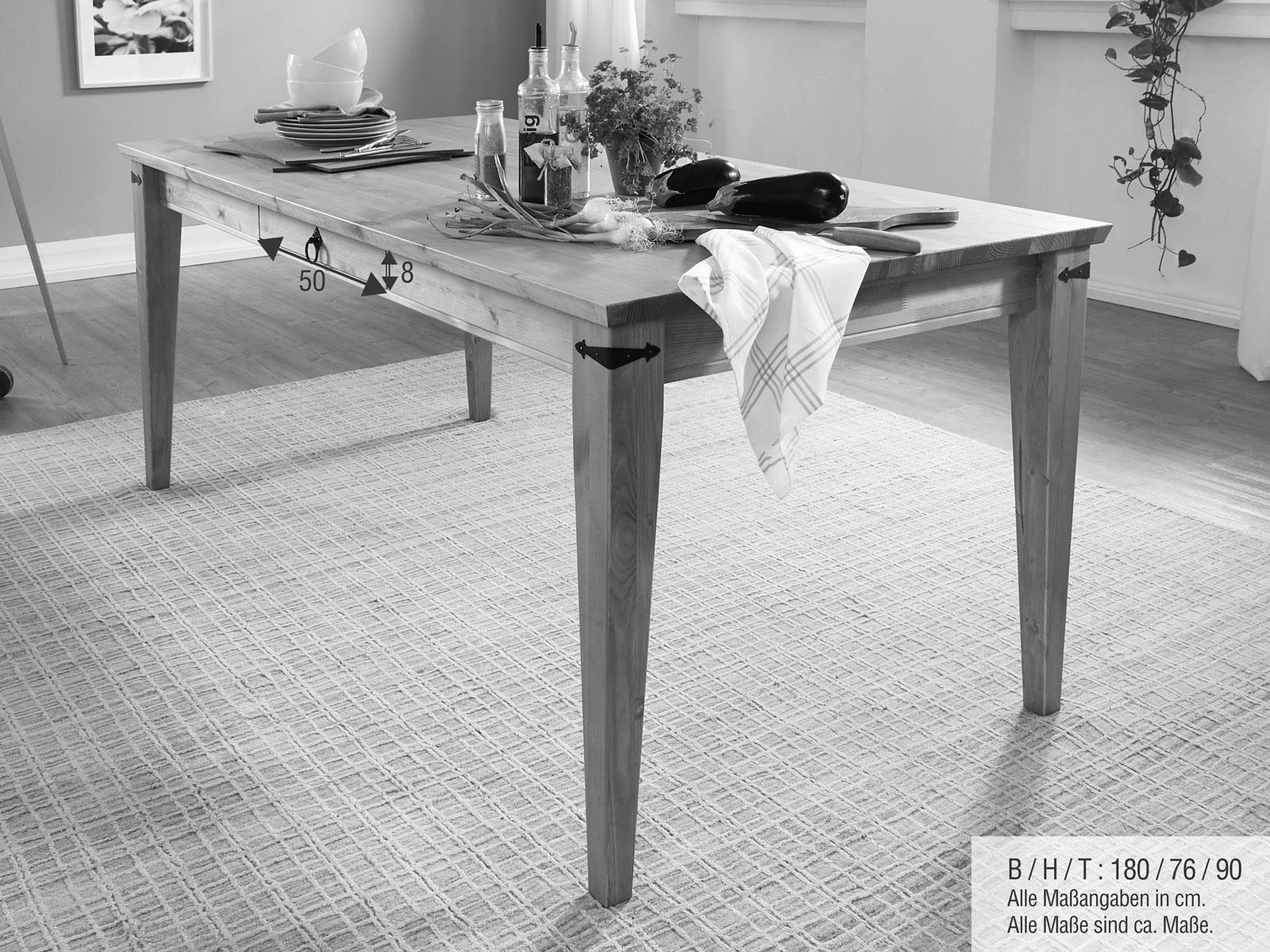 Esstisch Massivholz Tisch Torino 180x90 Cm Breit Pinie Nordica Eichefarbig Gebeizt Geolt Casamia Wohnen