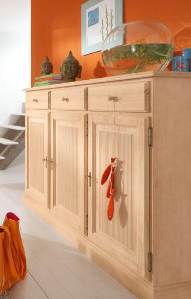 Highboard Hoch-Anrichte Casapino B 153 H 125 T 46 cm 3 Türen und 3 Schubladen Pinie massiv