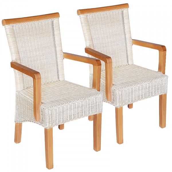 Esszimmer Stühle Set Mit Armlehnen 2 Stück Rattanstuhl Weiß Perth Mit Ohne Sitzkissen Leinen Weiß