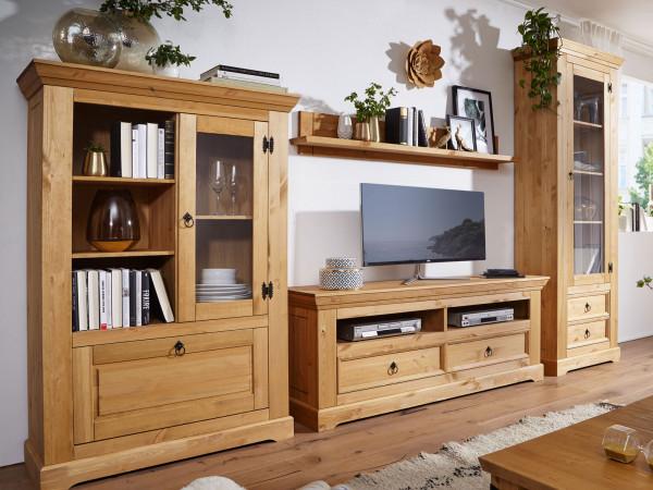 Wohnwand Set Torino Highboard TV Schrank Vitrine 1-türig u. Wandbord Pinie Nordica eichefarbig