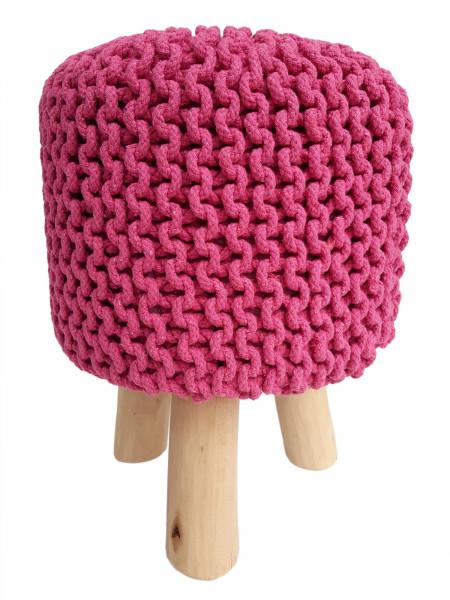 Sitzhocker Strick-Hocker Pouf Schemel Ø 35 cm Höhe 45 cm mit Holzfüßen pink