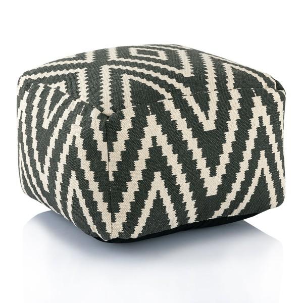 Sitzwürfel Fußhocker Sitzhocker 55x37x55 cm Pouf Kelim Bodenkissen Peru schwarz grau gelb türkis