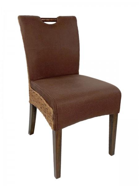 Rattanstuhl Esszimmer Stuhl Bilbao mit Griff vollgepolstert Polster prairie brown