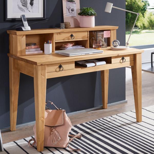 Schreibtisch Computertisch Torino mit Aufsatz und 3 Schubladen Pinie Nordica eichefarbig gebeizt