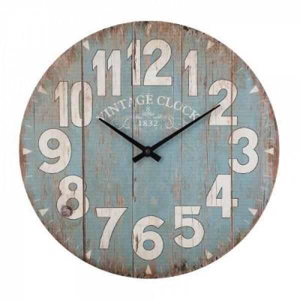 Wanduhr Wohnzimmeruhr Uhr rund ø 38 cm Vintage Clock Dekor Motiv Holz antik blau