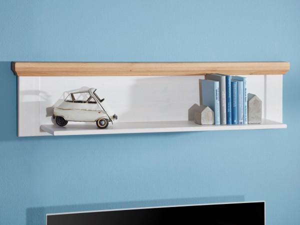 Wandbord Bücher-Regal Bücher-Bord Bari 133/176 cm breit Pinie Nordica weiß