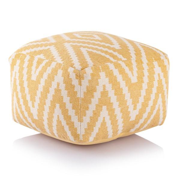 Sitzwürfel 2. Wahl Fußhocker Sitzhocker 55x37x55 cm Pouf Kelim Bodenkissen quadratisch Peru gelb