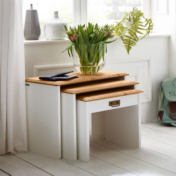 3-Satztisch Set Beistelltische Novara 3 Tische in 3 Größen Pinie Nordica weiß Wildeiche natur massiv