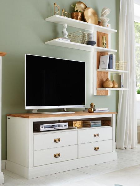 TV Lowboard Fernsehschrank Set + Wandregal Novara Pinie Nordica weiß Wildeiche natur massiv