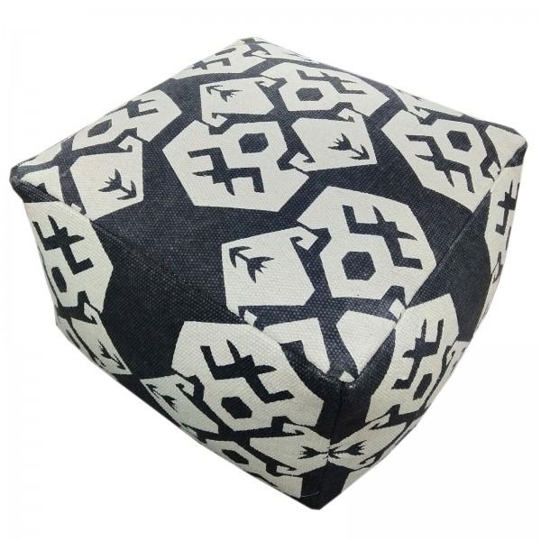 Fußhocker 2. Wahl Sitzhocker Sitzwürfel 55x37x55 cm Kelim Pouf Bodenkissen Mexiko grau graphite