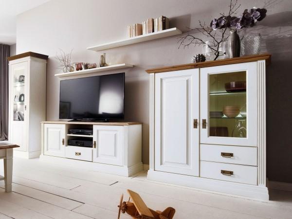 Wohnwand Set Novara Vitrine TV Schrank Highboard 2 Wandbords Pinie Nordica weiß Wildeiche massiv