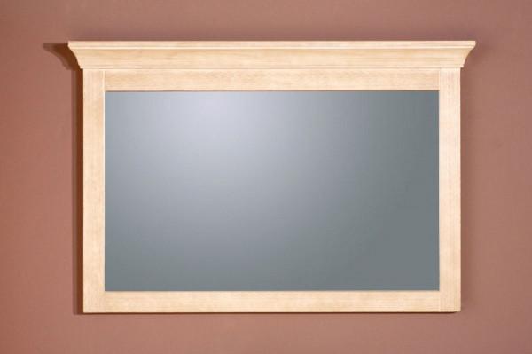 Wandspiegel mit Massivholzrahmen und Kranz Grande 120 cm breit, Pinie massiv vintage