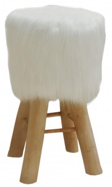 Barhocker Bistrohocker Theken Hocker Kunstfell weiß mit Holzfüßen Ø 35 cm Höhe 72 cm