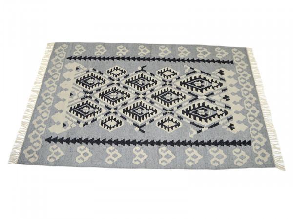 Kilim Teppich mediterran jasmin grey 300 x 200 cm handgeknüpft
