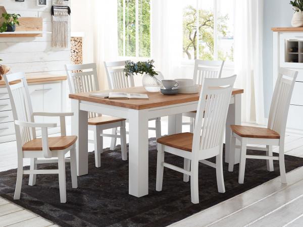 Esszimmer Sitzgruppe Novara Esstisch 160/180 cm 4 Stühle 2 Armlehner Pinie Nordica weiß Wildeiche ge