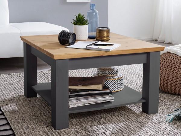 Couchtisch Wohnzimmer-Tisch 75 x 75 cm quadratisch Macra Pinie Nordica grau gewachst
