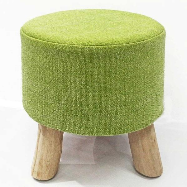 Sitzhocker Stone Washed 2. Wahl Hocker grün Pouf Schemel Ø 35 cm Höhe 45 cm mit Holzfüßen